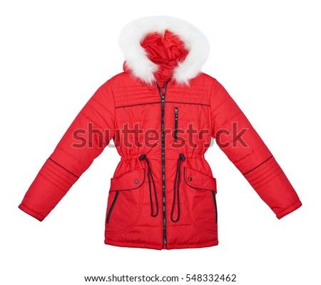 Children's red jacket with hood trimmed with fur. Isolated on white background