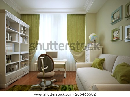 Children's room for a boy in a modern style. 3d visualization