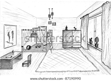 Children's room graphical sketch of an interior
