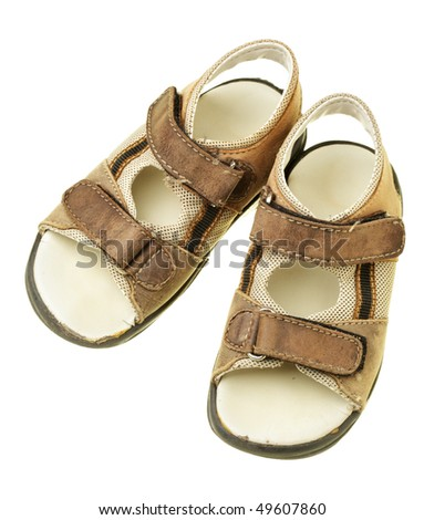 Children's sandals isolated over the white background - stock photo