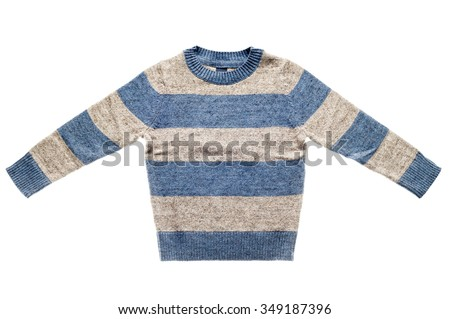 Children's striped sweater isolated on white background. - stock photo