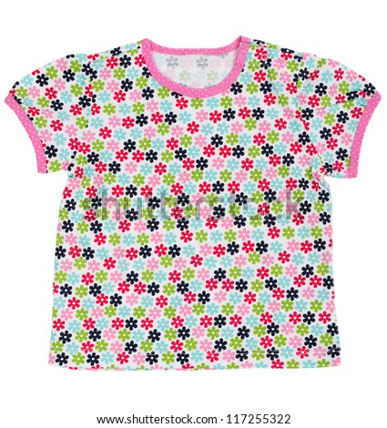 Children's T-shirt with a colored floral pattern. Isolate on white. - stock photo