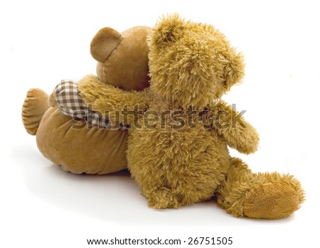 Children's toy bear cubs are turned by back isolated on white background