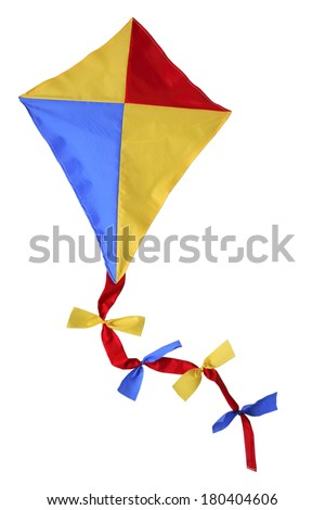 children's toy kite on white  - stock photo