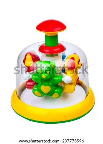 Children's toy pinwheel isolated on white background - stock photo