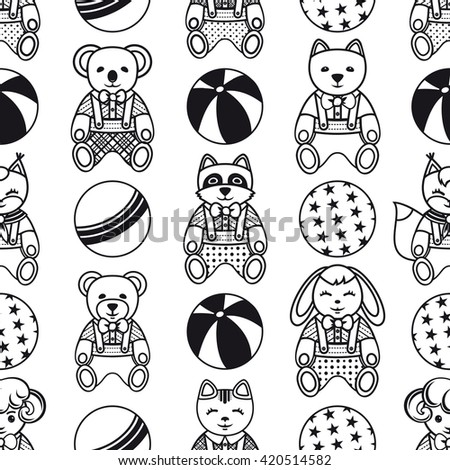 Children's toy. Seamless pattern. Monochrome.