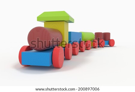 children's toy - wooden Toy Train with wagons - 3D model - stock photo