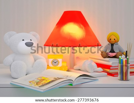 Children's toys, books, colored pencils, alarm clock, the lamp are located on a table. - stock photo