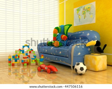 Children's toys inside the room. , 3d render