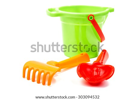 children's toys on a white background - stock photo