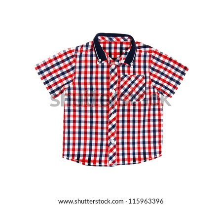 Children's wear - red checkered shirt isolated over white background - stock photo
