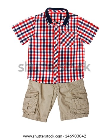 Children's wear - red plaid shirt with a short sleeve and shorts - stock photo
