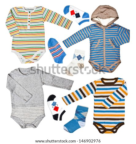 Children's wear - set shirt and socks isolated over white background  - stock photo