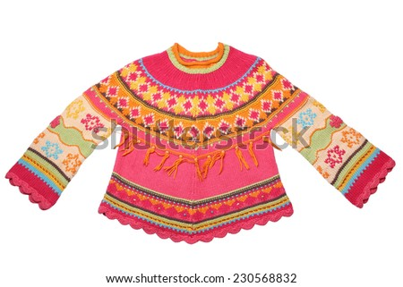 Children's wear - sweater isolated on white background - stock photo