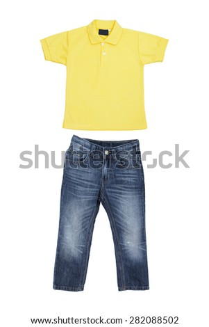 Children's wear - T-shirt and blue jeans isolated on white background - stock photo