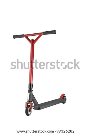 children scooter isolated on white. - stock photo