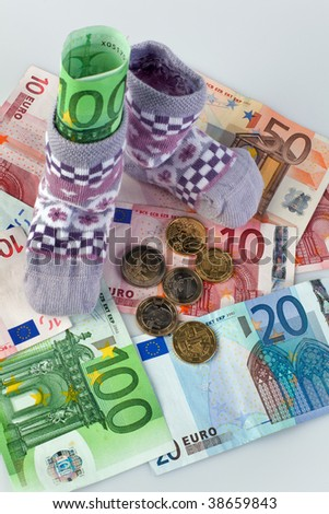 Children Socks and euro banknotes.