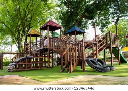 children Stairs Slides equipment - stock photo