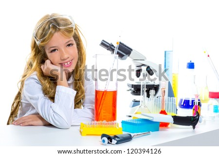 Children student girl in kid chemical laboratory at school on white - stock photo
