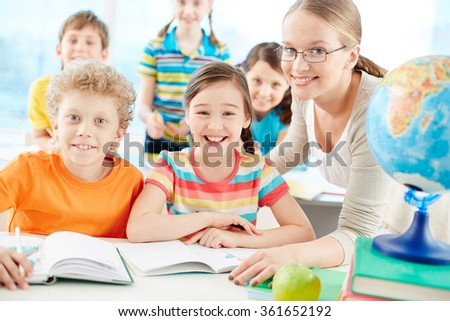 Children studying - stock photo