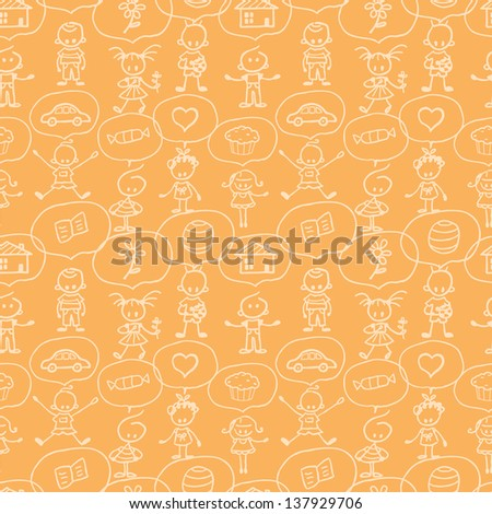 Children thinking seamless pattern background raster - stock photo