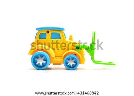 Children toy car ,Toy car made of plastic, forklift, toys.