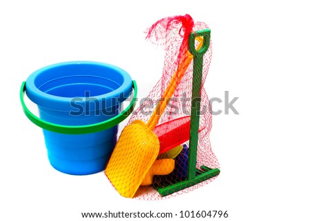children toys for playing  sandbox on white background