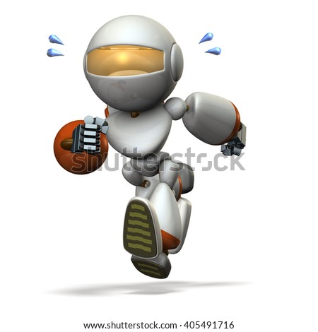 Children type robot is running hard. computer generated image. 3D illustration, - stock photo