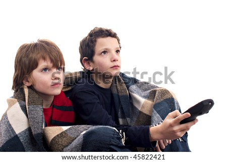 children watching television - stock photo
