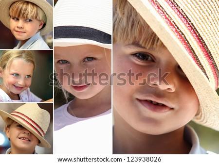 Children wearing hats - stock photo