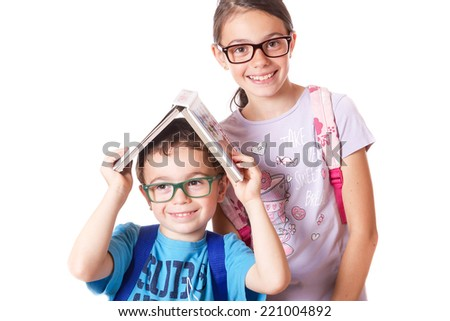 children who go to school with glasses on white background   - stock photo