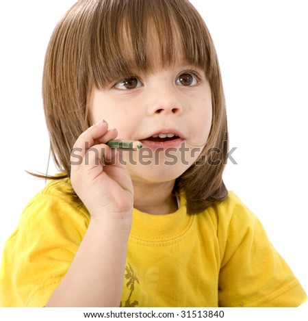Children with a colour pencil isolated over white - stock photo