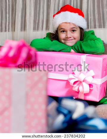 children with Christmas presents/children with Christmas presents - stock photo