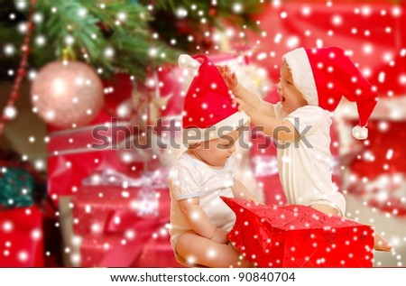 Children with x-mas tree - stock photo