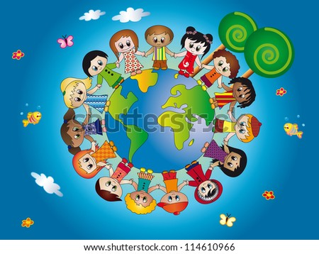 children world - stock photo