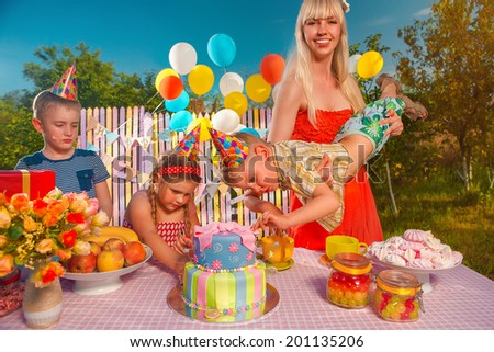 Childrenl in anticipation of the holiday - stock photo
