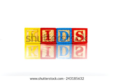 Childrens Alphabet Blocks spelling the word Kids - stock photo