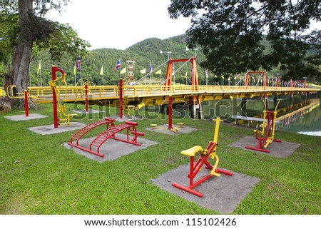 Childrens playground area in summer, nobody - stock photo