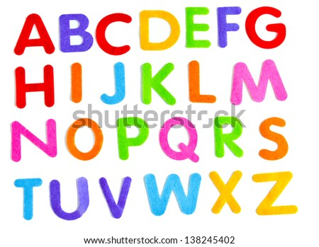 childrens style fun colourful letters on white background with shadow