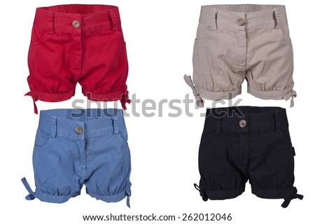 Childrens wear - shorts isolated over white background - stock photo