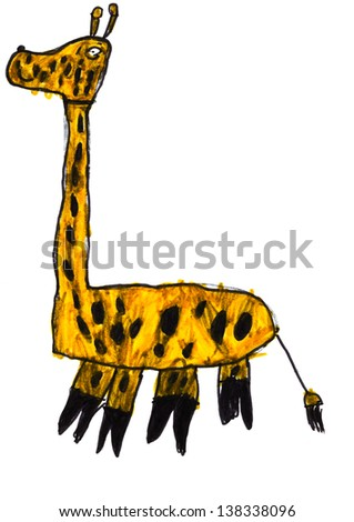 childs drawing - giraffe - stock photo