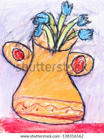 childs drawing - orange vase with small blue flowers - stock photo