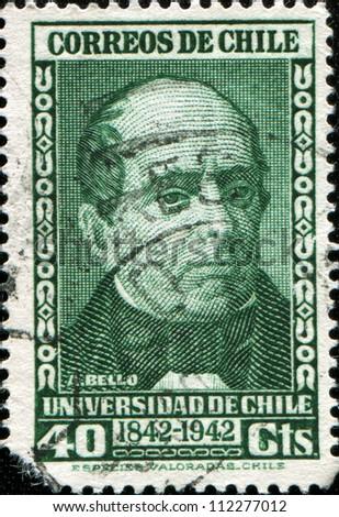 CHILE - CIRCA 1942: A stamp printed in the Chile shows Andres Bello, Venezuela-born Writer and Educator, circa 1942 - stock photo