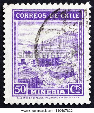 CHILE - CIRCA 1938: a stamp printed in the Chile shows Mining, Industry, circa 1938
