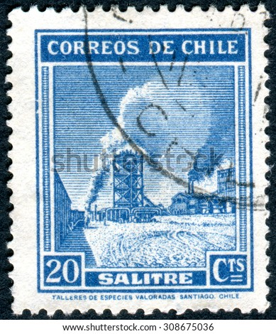 CHILE - CIRCA 1938: Postage stamp printed in Chile, shows nitrate production plant, circa 1938
