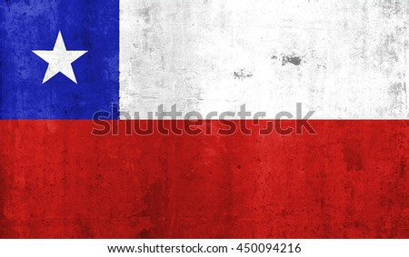 Chile country flag with grunge wall texture background. - stock photo