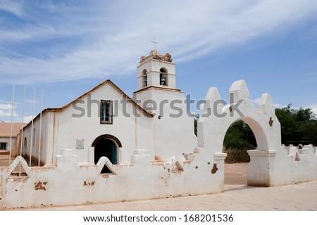 CHILE - FEBRUARY 9: The San Pedro de Atacama Church in San Pedro near the Atacama Desert in northern Chile in South America. - stock photo