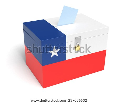Chile Flag Ballot Box. Isolated white background. 3D Rendering. - stock photo