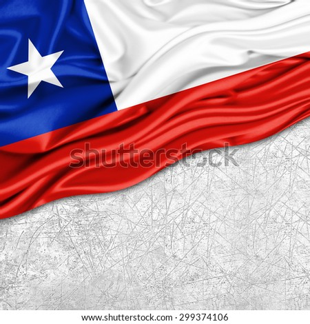Chile  flag of silk with copyspace for your text or images and wall background