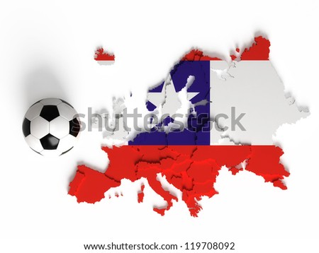 Chile flag on European map with national borders, isolated on white background